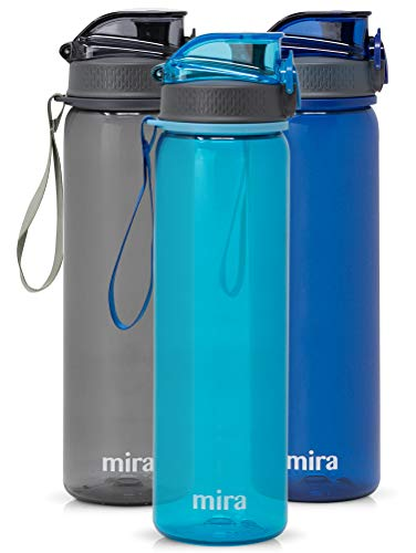 MIRA 25 oz Reusable Tritan Water Bottle | BPA-Free Plastic Sports Water Bottle | Leak Proof Locking Flip Top Lid with Easy Flow Spout | Blue