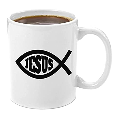 Jesus Fish | Premium 11oz Coffee Mug Gift - Perfect Christian Gifts, Catholic Confirmation Gifts, Jesus, Bible, Easter, for Men, Women, Teens, Teenagers, Religion, God, Holy, Church, Family, (Catholic Deacon Gifts)