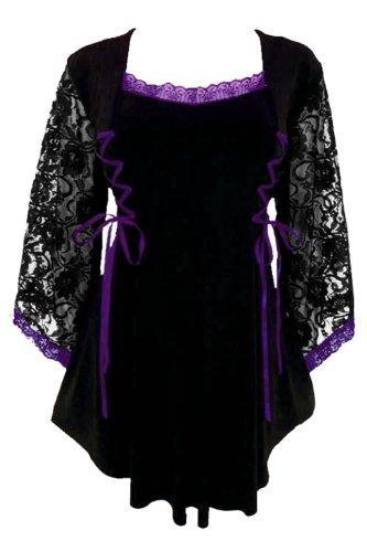 Dare To Wear Victorian Gothic Women's Plus Size Anastasia Corset Top Black/Purple L