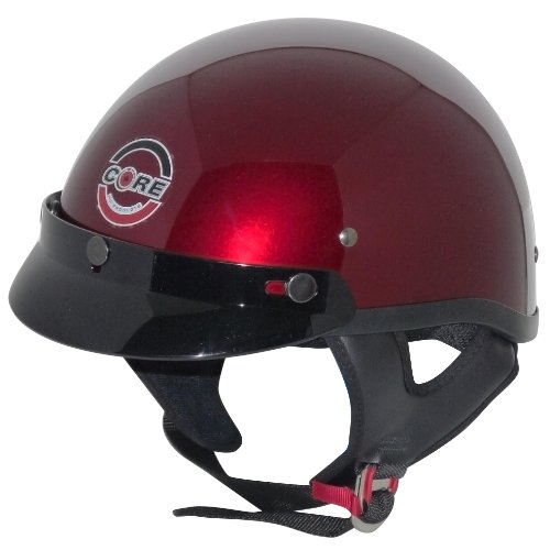 Core Cruiser Shorty Half Helmet (Wine, Medium)
