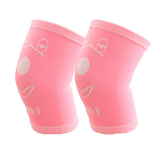 Luwint Kids Compression Knee Sleeve - Soft Children knee brace support for Soccer, Volleyball, Playing, Outdoor, Sports, 1 Pair (Pink)
