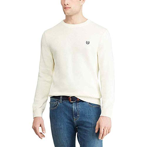 Chaps Men's Classic Fit Cotton Crewneck Sweater, Cream, L
