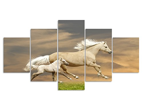 Animal Painting on Canvas Wall Art Prints Mother-child white horse Pictures for Living room Bedroom New Year Gifts Home Decor Set and Framed Ready to Hang for Office (60''W x 32''H) (Kids Horse Bedroom)