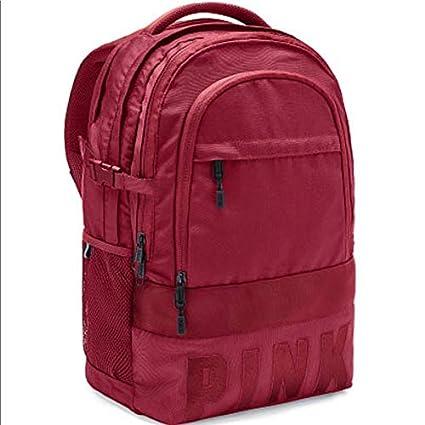 Amazon.com  Victoria s Secret PINK Backpack Bag Burgundy Dark RED ... 6d9eb60ea88af
