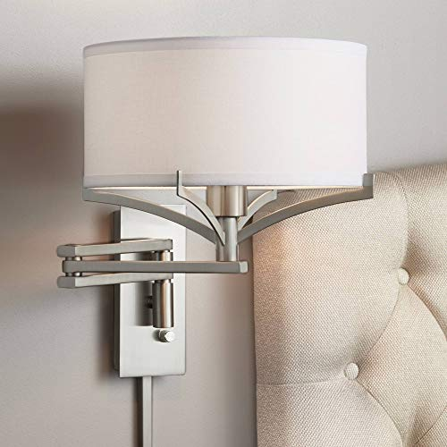 Tremont Brushed Nickel Metal Swing Arm Wall Lamp - Possini Euro Design ()