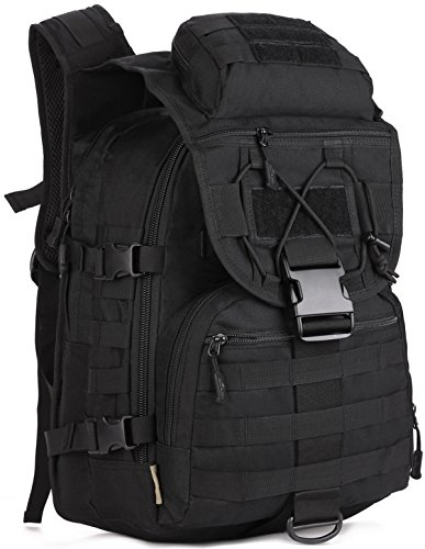 (ArcEnCiel Camping Bags Waterproof Molle System Backpack Military 3P Tad Tactical Backpack Assault Travel Bag Cordura -Rain Cover Included (Black))