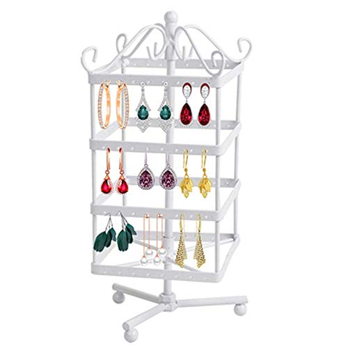 Zinnor Creative Detachable 4 Tiers Rotating 128 Pairs Earring Holder Necklace Keychain Organizer Stand-Jewelry Stand Display Rack Towers Best Gift (White)