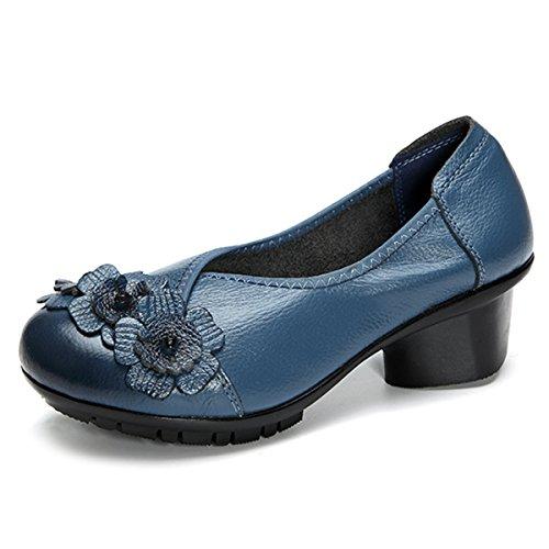 Soft Blue Flower (Socofy Retro Soft Shoes,Fashion Leather Round Head Mid Heel Vintage Handmade Flower Original Soft Shoes Blue 8 B(M) US)