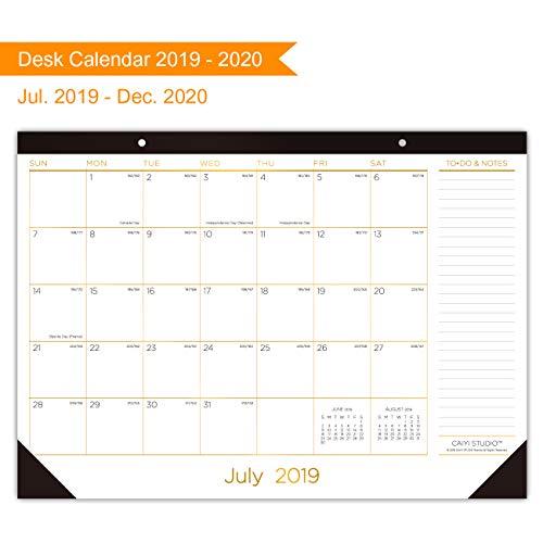 Desk Calendar 2019-2020: Large Monthly Desk Pad Calendar Planner - 18 Months Academic Desk/Wall Calendar Runs from Jul. 2019 Through Dec. 2020 - Gold Foil Decoration, 17