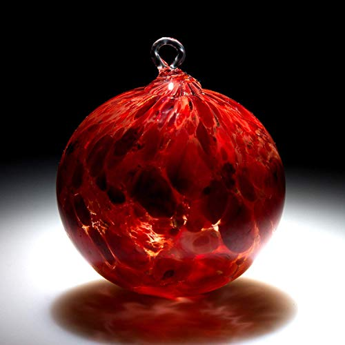 - Ornament. Sun catcher. Hand blown Fine Art Glass Ornament in Red. Made in Seattle. Artist Dehanna Jones.