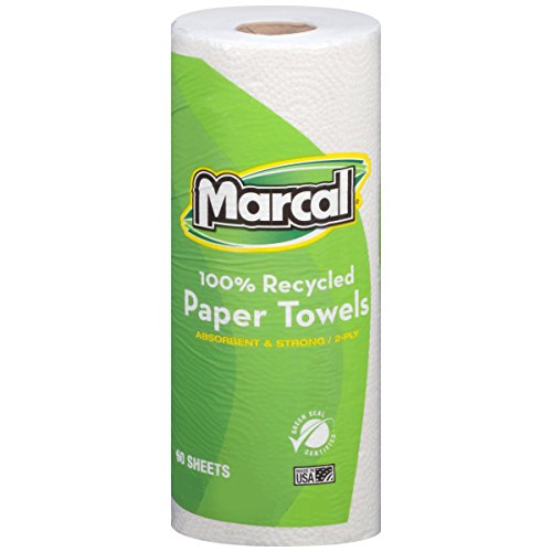 Marcal #06709 100% Recycled, Green Seal Certified Paper Towel, 2-Ply, White, 60 sheets per roll, 15 individually wrapped rolls per case
