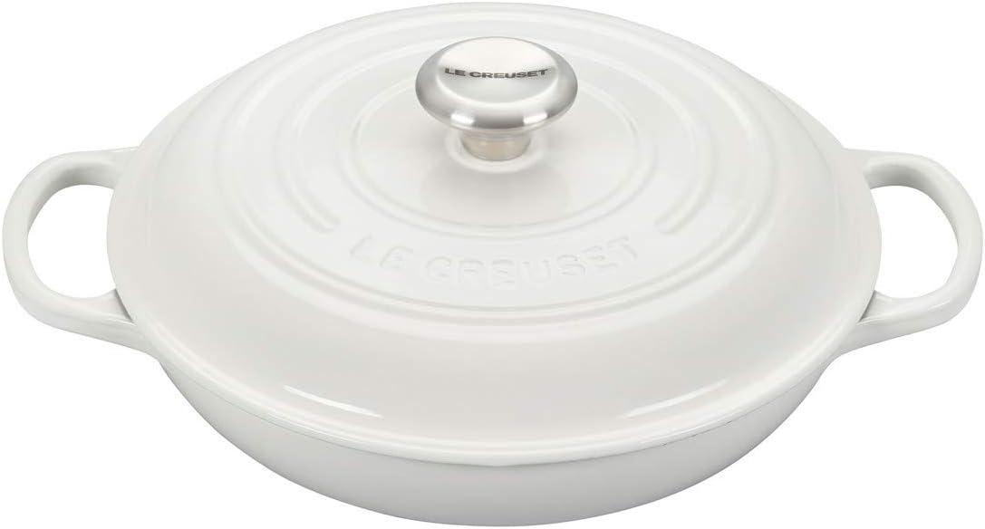 Le Creuset LS2532-2616SS Signature Enameled Cast Iron Braiser, 2.25 qt, White