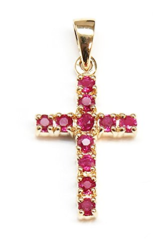 14K Yellow Gold Cross shaped Pendant with AAA quality Rubies
