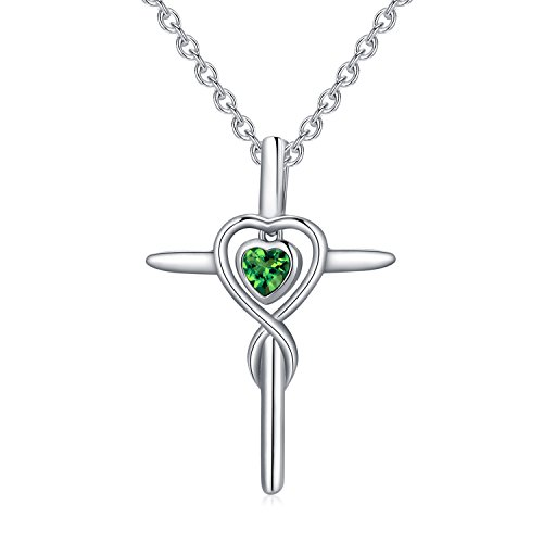 LAIMALA Sterling Silver Cubic Zirconia CZ Simulated Diamond Cross Heart Pendant Necklace for Girls, Women