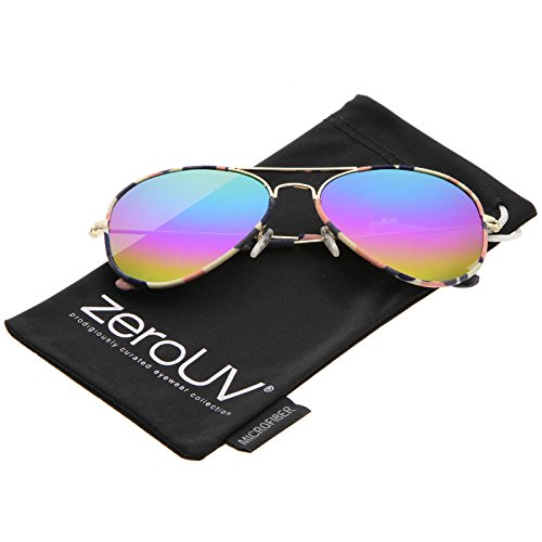 zeroUV - Camouflage Print Fabric Teardrop Shape Lens Aviator Sunglasses 60mm (Gold-Pink-Camo / Rainbow - Sunglasses Camo Lens