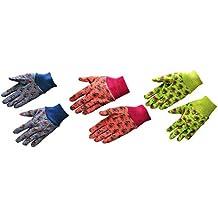 G & F 1823-3 JustForKids Soft Jersey Kids Garden Gloves, Kids Work Gloves, 3 Pairs Green/Red/Blue per Pack