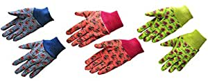 """G & F 1823-3 """"Just For Kids"""" Soft Jersey Kids Gloves, 3-Pairs Green/Red/Blue per Pack, Kids Size"""