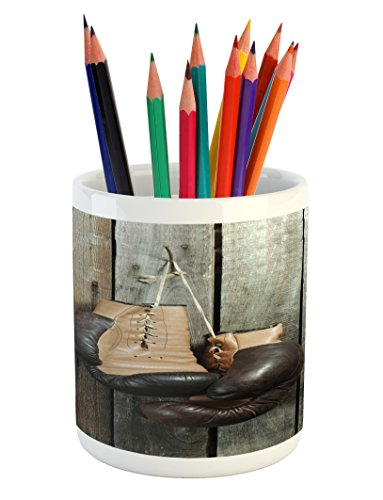 Cheap  Ambesonne Vintage Pencil Pen Holder by, Vintage Boxing Gloves on the Old..