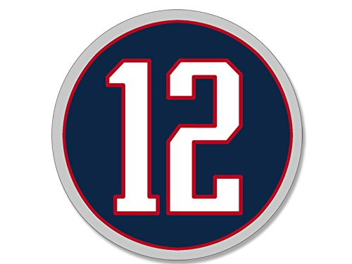 American Vinyl Round #12 Tom Brady Patriots Colors Sticker (QB # New England 12 Number)