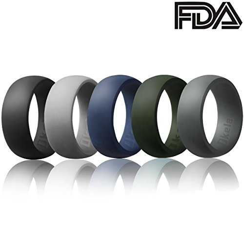 OKELA Silicone Wedding Rings, Premium Medical Grade Silicone Wedding Bands for Active Men/Women, Comfortable and Non-Toxic Rubber Ring for Daily Wear, Work, Travel, Fitness