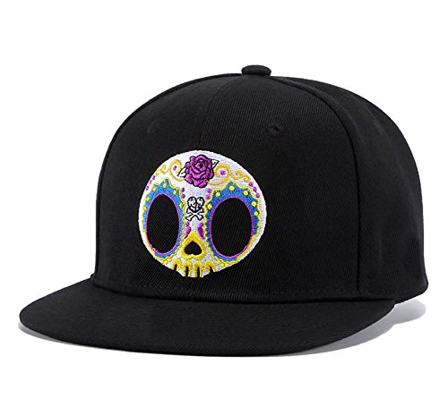 Sugar Candy Skull Embroidery Snapback,Mask Rose Spade Cross Skeleton Mens Womens Baseball Cap Flat Bill Hats -