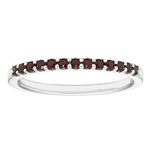 14K White Gold 1.04 Tgw. Garnet January Birthstone Stackable 2MM Band Ring (Stackable Gemstone Ring)