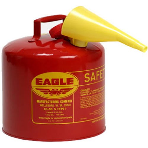 "Eagle UI-50-FS Red Galvanized Steel Type I Gasoline Safety Can with Funnel, 5 gallon Capacity, 13.5"" Height, 12.5"" Diameter"