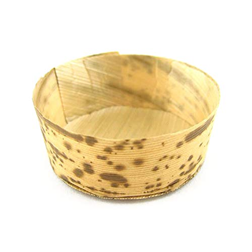 BambooMN Brand - Bamboo Leaf Round Tubs - 2.2 dia x 1 high - 100 Pieces