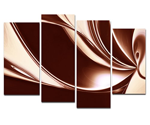 Wieco Art - Canvas Prints, Stretched and Framed Modern Art Work, Huge Canvas Print Giclee Artwork for Wall Decor, 4 Panels Brown Digital Abstract Modern Canvas Wall Art for Home Decor, Abstract Picture Photo Prints on Canvas Art P4RAB005