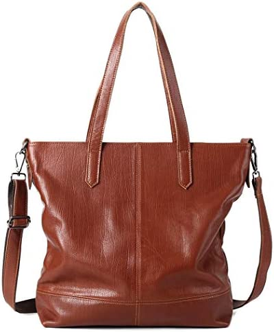 女性のショルダーバッグ輸入皮革ヨーロッパとアメリカのソフトレザービッグバッグ, 大容量女性ハンドバッグ, 女性ファッションショッピングバッグ-ブラウン, ブラック