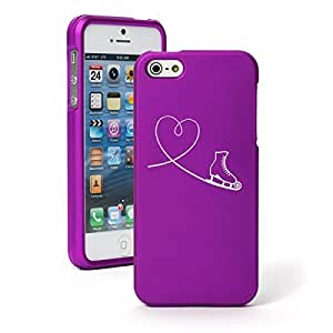 Apple iPhone 5c Snap On 2 Piece Rubber Hard Case Cover Heart Love Ice Skating (Purple)