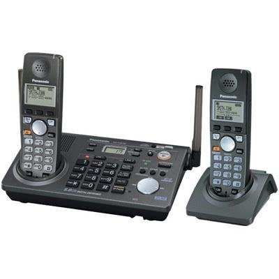 Panasonic KX-TG6702B 2-Line 5.8 GHz FHSS GigaRange Expandable Cordless Phone System with 2 Handsets