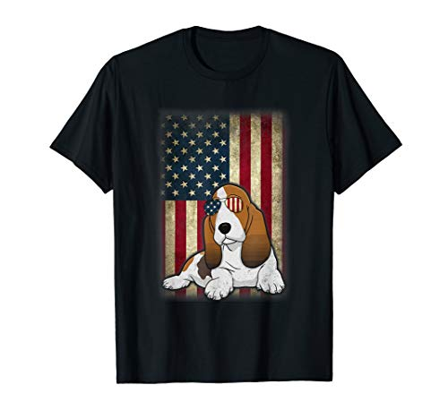 Basset hound Smile Flag American Independence 4th July Shirt T-Shirt
