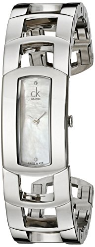 Calvin Klein Women's K3Y2M11T 'Dress' Mother of Pearl Dial Stainless Steel Bangle Swiss Quartz Watch by Calvin Klein