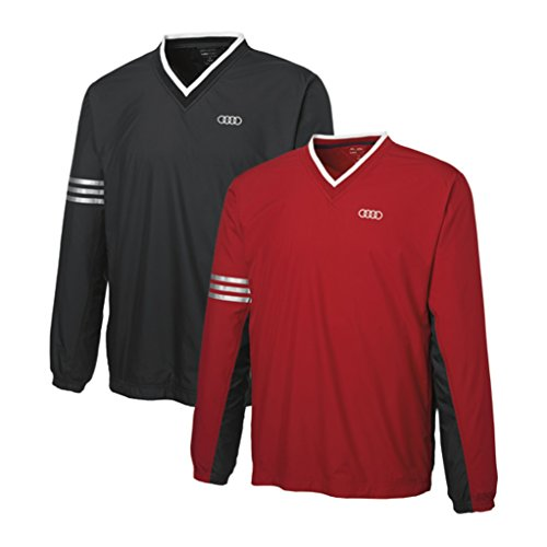 Price comparison product image Audi Men's Adidas ClimaProof 3-Stripe V-Neck Pullover Windshirt -RED- LARGE