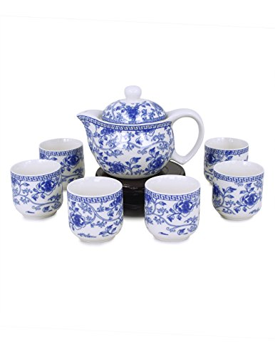 Antique Chinese Tea Set - Dahlia Porcelain Vine Flower Tea Set (Tea Pot w. Infuser + 6 Tea Cups) in Gift Box