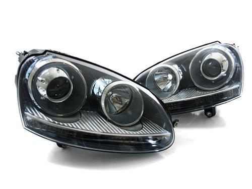 06-09 VW GTI/GLI MK5 E-CODE BLACK PROJECTOR HEADLIGHTS - D2S HID (E-code Projector Headlights)