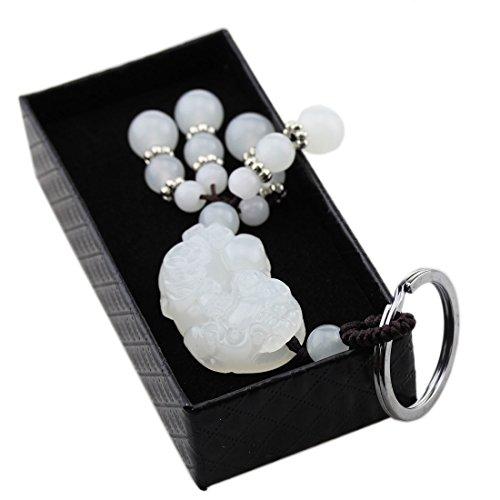 FOY-MALL Unisex Fashion Natural Jade Stone Carved Pixiu Keychain J1234