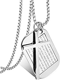 Stainless Steel Dog Tags Cross Necklaces for Men Prayer...