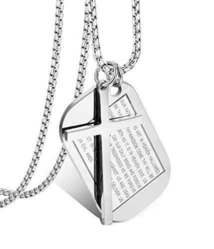 Jstyle Stainless Steel Dog Tags Cross Necklaces for Men Prayer Cross Necklace Military Rolo Chain 3mm 24 Inch S