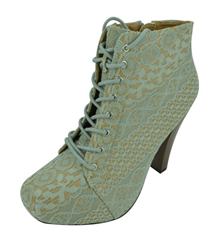 Slip Sage Up Women Cut Lace High Bootie Out Ankle Heel On Wedge Platform Bootie qwZwSnXxOT