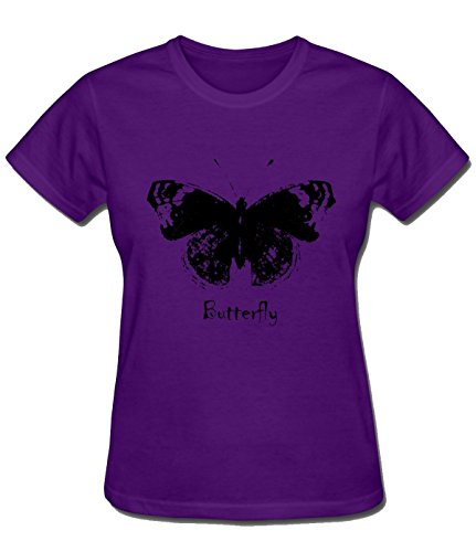 Price comparison product image HappyAnimal Womens Lady Animal Insect Black Personality Butterfly T-Shirt XXL purple