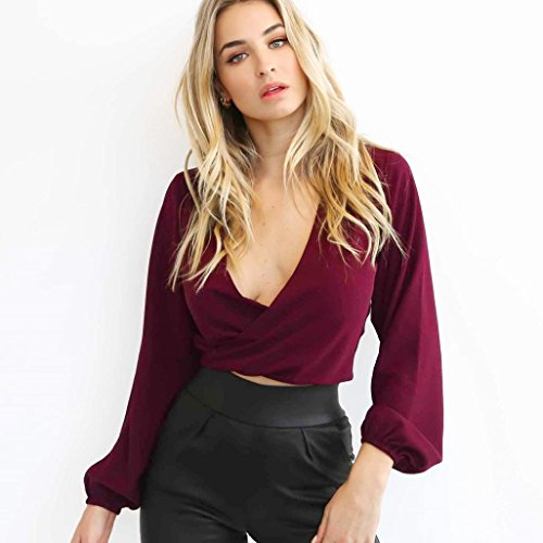 Gotd Women Solid Sexy Long Sleeve Deep V-neck Tunic Tops Blouse Shirt Work (S, Wine) by Goodtrade8 (Image #1)