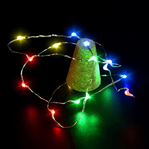 Coohole Cork Shaped 15 LED Night Light Starry Lights Wine Bottle Lamp For Christmas Xmas Party Colorful Lights (A) by Coohole (Image #2)