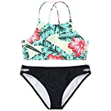 Alangbudu Women's Two Piece Criss Cross Back Forest Leaves Flower Print High Waisted Cut Out Strappy Bikini Set Swimsuit Green