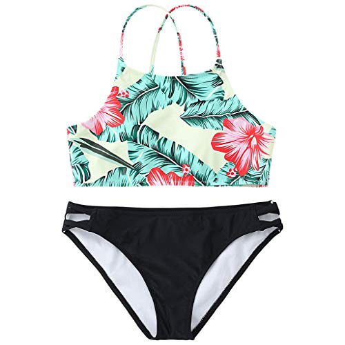 Alangbudu Women's Two Piece Criss Cross Back Forest Leaves Flower Print High Waisted Cut Out Strappy Bikini Set Swimsuit Green by Alangbudu-Swimsuits (Image #1)