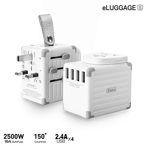 Zikko eLUGGAGE S Travel Adapter, 2500W Universal Travel Adapter with 4 USB Travel Adapter, USB European Adapter Flame Retardant Grounded International Travel Adapter US, UK, JP, EU, ()