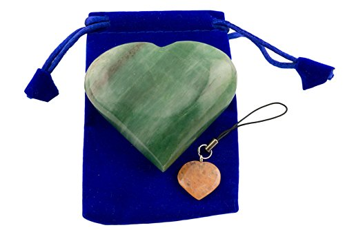 Green Aventurine Pub Heart Worry Stone with (1 pcs.) Assorted Color Keychain and Blue Velvet Pouch (Green Aventurine) (Fluorite Green Necklace)