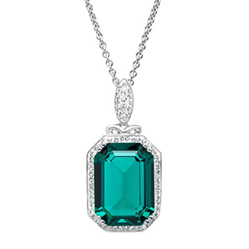 (Pendant Necklace with Green and White Swarovski Crystal in Sterling Silver)