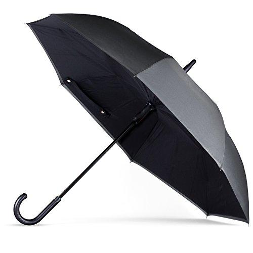 Westinghouse Anyweather Reversible Inverted Automatic Open Umbrella Leather J Handle, Large, Charcoal (Westinghouse Brush)